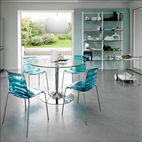 Set meja makan dengan kursi akrilik toska - Omborokko