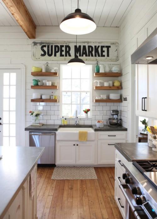 Dapur shabby chic dengan warna pastel (Countryliving)