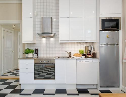 Desain Dapur Mini Bernuansa Hitam Putih (Elgintxhomes)