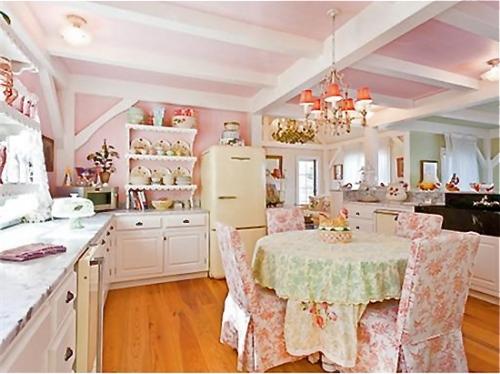 Desain interior dapur sederhana shabby chic (Pandashouse)