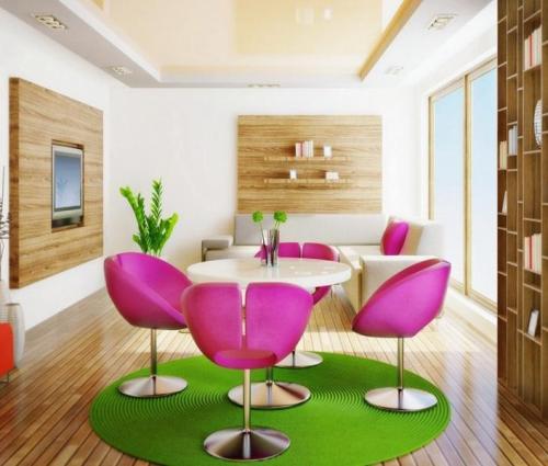 Contoh meja makan bulat dengan kursi unik (Interior24)