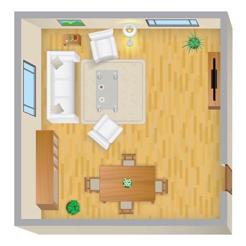 Contoh posisi jendela pada layout ruang tamu - Fotolia