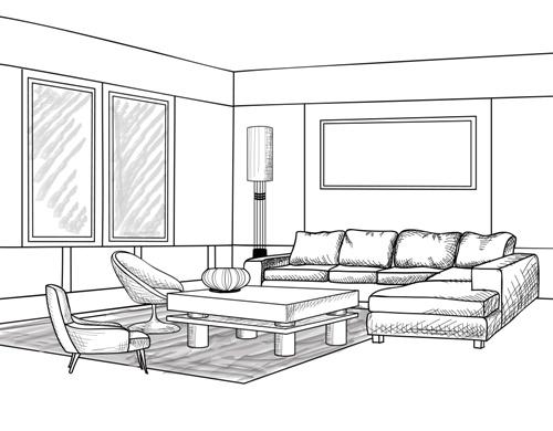 Contoh sketsa ruang tamu dan penempatan jendela - Fotolia
