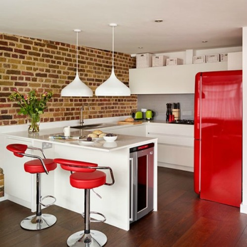 Desain dapur minimalis dengan bata ekspose (Yasminchopin)