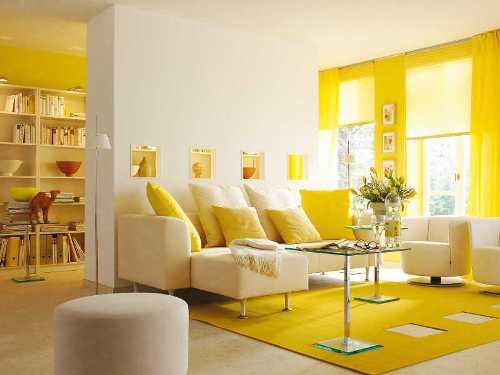 Desain interior rumah idaman berwarna kuning (Home-designing)
