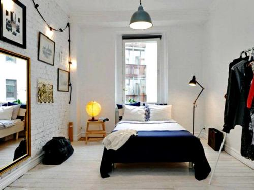 Kamar tidur kecil bernuansa monokrom (Vitainterface)