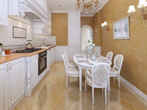 Kitchen cabinet dan dining set menggunakan warna yang sama - Fotolia