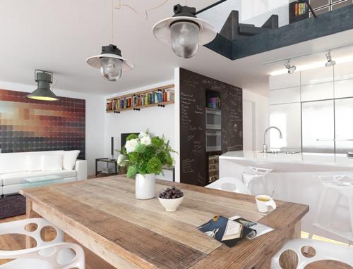 Ruang makan menyatu dengan dapur tersembunyi - Fotolia