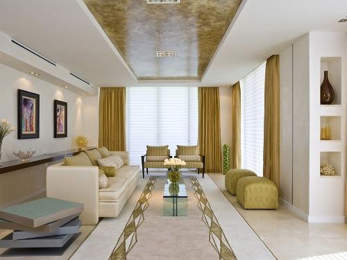 Desain ruang keluarga dengan lantai granit (Arsiteki)