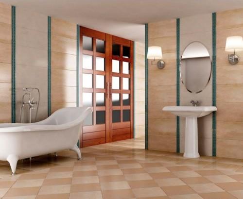 Interior kamar mandi dengan lantai keramik (Desainrumahid)