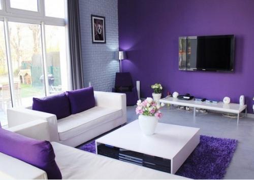 Interior ruang tamu ungu plus lavender (Homedesignlover)