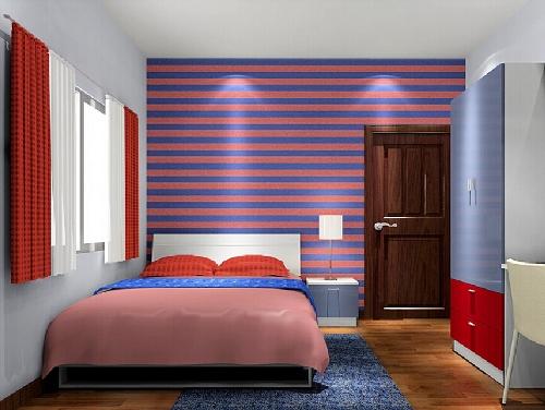 Paduan warna biru dan merah di kamar tidur (Interiordesign777)