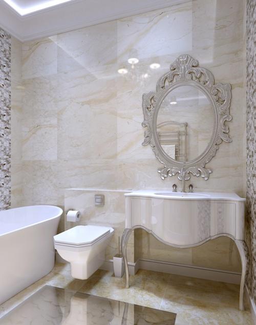 Elemen melengkung mencerminkan nuansa klasik di kamar mandi (Fotolia)