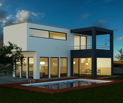 Kolam Renang Dengan Dua View pada rumah mewah minimalis (Fotolia)