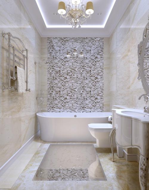 Paduan tekstur untuk menciptakan nuansa klasik di kamar mandi (Fotolia)