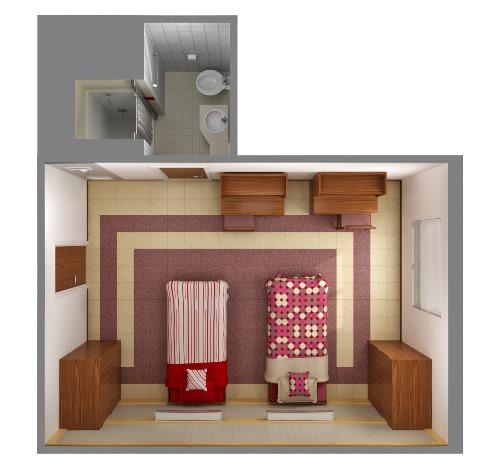 Sketsa kamar anak serba duo - tampak atas (Zoomtm)