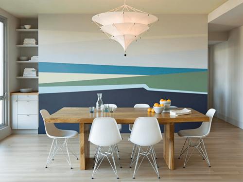 Dinding tumpu pada desain interior rumah (Freshome)