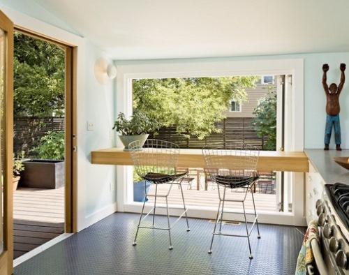 Contoh lantai dapur berbahan karet (Minimalisti)