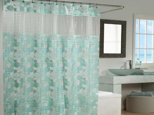 Dekorasi interior kamar mandi dengan tirai (I-j-c)