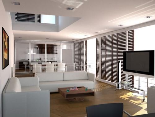 Desain ruang keluarga modern dengan layout satu titik fokus (Tribelle)
