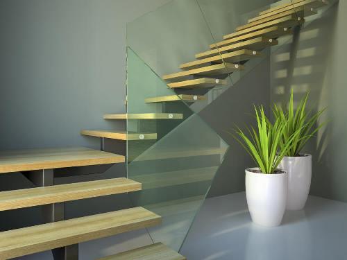 Tangga rumah minimalis dengan dinding kaca (Homestratosphere)