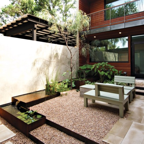 Desain halaman belakang dengan elemen air (Houzz)