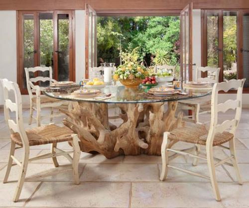 Meja makan unik dari kayu apung (Homesthetics)