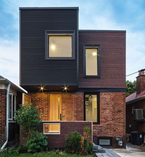 Rumah modern minimalis dengan siding campuran (HomeAdore - Pinterest)