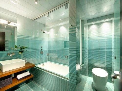 Biru tosca cocok untuk menenangkan nuansa di kamar mandi