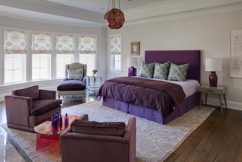 Cat Rumah Minimalis, kamar tidur dengan paduan ungu dan putih