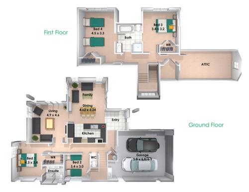 Contoh Denah Rumah Minimalis Lantai 2 4 kamar tidur