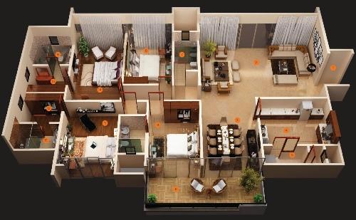 Contoh Denah Rumah Minimalis Type 120  1 lantai
