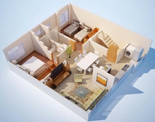 Contoh denah lantai 1 di rumah 2 lantai