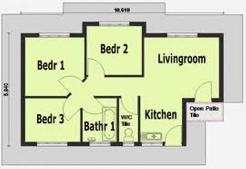 Contoh denah rumah 3 kamar tidur sederhana