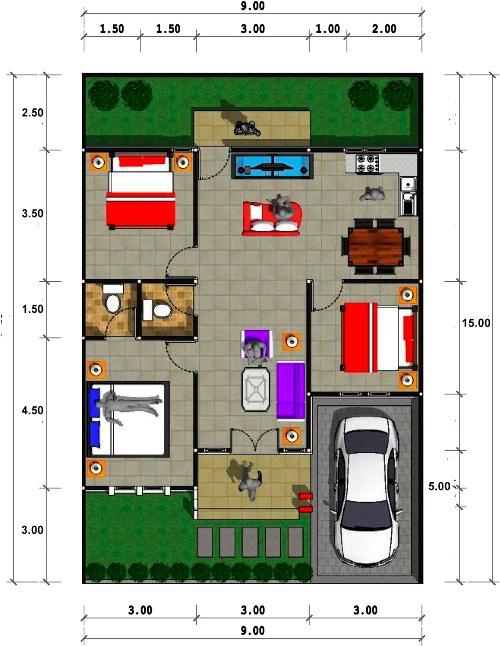 Contoh denah rumah minimalis modern type 70