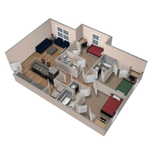 Contoh denah rumah tipe 70 dengan 3 kamar tidur  3 dimensi