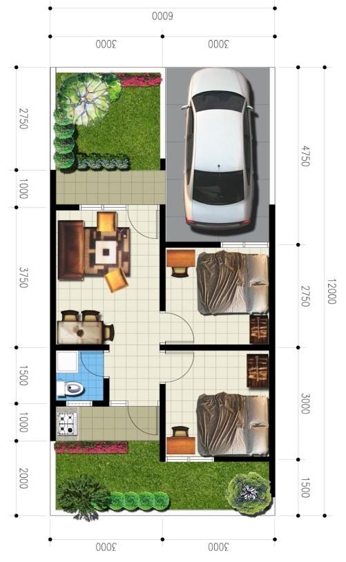 Contoh denah rumah type 36-90