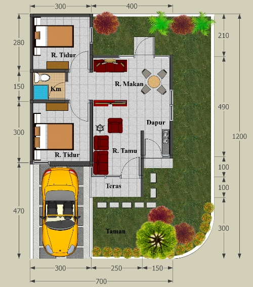 Contoh denah rumah type 45