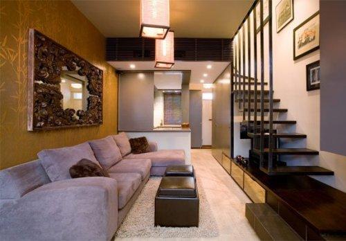 Contoh desain ruang tamu minimalis di rumah 2 lantai sederhana