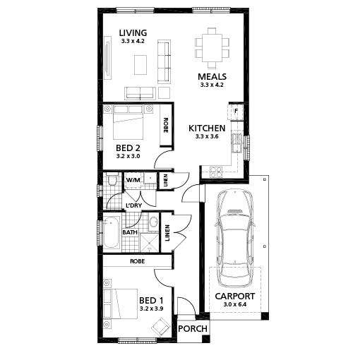 Contoh pembagian ruang pada rumah kayu 2 kamar tidur