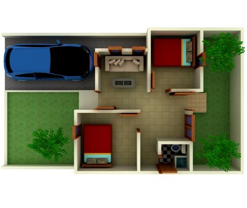 Contoh pembagian ruang pada rumah type 36