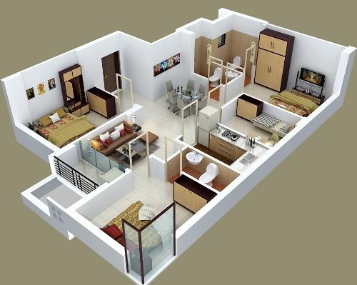 Contoh pembagian ruang serta furniture di rumah mewah 1 lantai