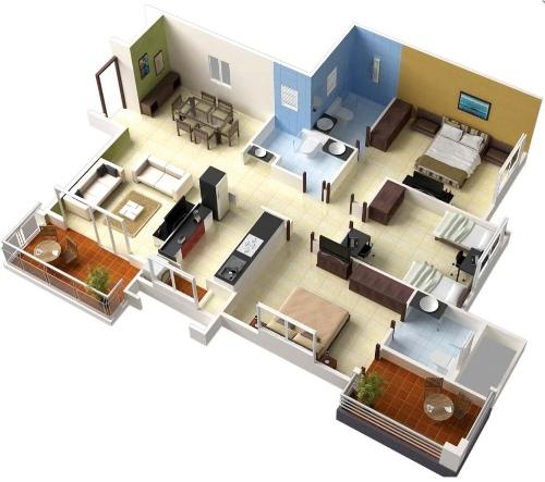 Contoh rencana ruang rumah 3 kamar tidur
