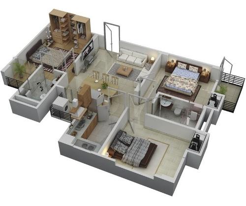 Contoh rencana ruang rumah minimalis modern 1 lantai