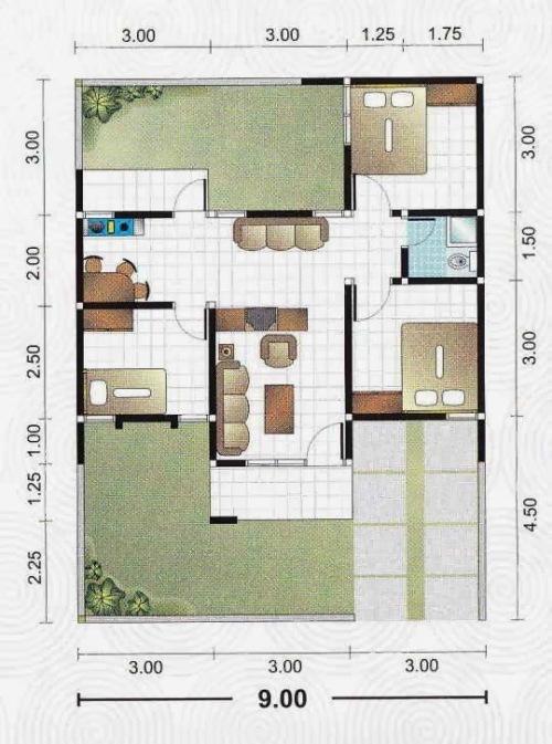 Contoh rumah minimalis 1 lantai dengan 3 kamar tidur