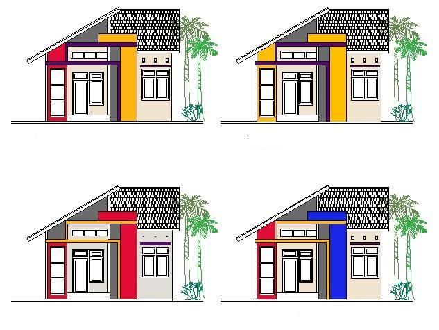 Contoh sketsa variasi warna eksterior rumah minimalis