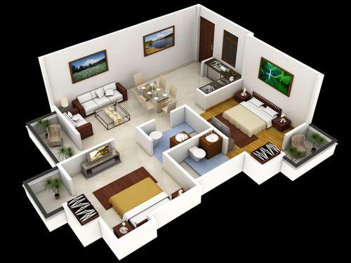 Contoh tata ruang rumah minimalis 2 kamar tidur