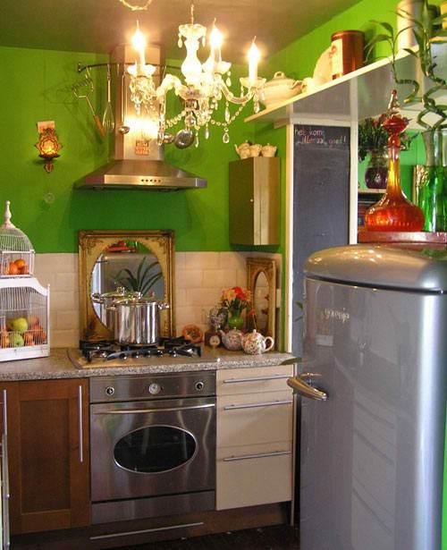 Dapur bertema alam dengan warna hijau stabilo - Decoholic