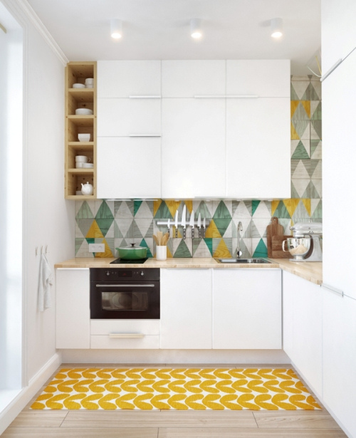 Dapur cantik dengan tabrak motif - Home-designing
