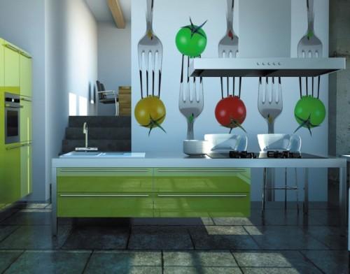 Dapur ceria dengan wall mural sayuran dan peralatan makan (Topdreamer)